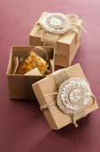 Two vintage boxes with cookies — Stok fotoğraf