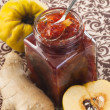 Quince confiture with fresh quince fruit and ginger — Stock Photo
