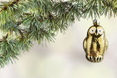 Vintage owl toy on the Christmas cedar — Stock Photo
