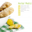 Herbal Medicine: Ginger roots — Stock Photo