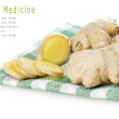 Herbal Medicine: Sliced ginger roots — Stock Photo