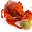 Boiled crawfish with olive — Stock Photo