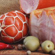 Ham with olives and spices — Stock Photo #36455939