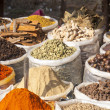 Indian colored spices on the flea market  — Stock Photo