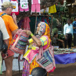 Woman in authentic clothing on the Indian market — Stok fotoğraf
