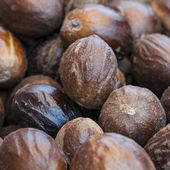 Nutmeg background — Stock Photo