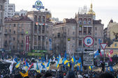 Ukrainian people demand the resignation of the government and early voting — Stock Photo