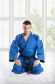 Man practicing jiu-jitsu (Hakki Heysen Ryu school) — Foto de Stock