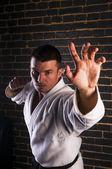 Handsome man practicing Brazilian jiu-jitsu — Stock Photo