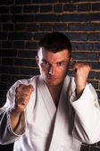 Young man practicing Brazilian jiu-jitsu — Foto de Stock