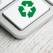Recycle symbol on a Computer keyboard — Stock Photo