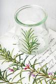 Decoupage vase with rosemary — Zdjęcie stockowe