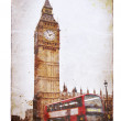 Big Ben and double-decker bus in London — Stock Photo