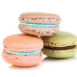 Three colorful french macaroons — Stock Photo #38874787