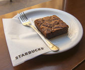 Brownie cake in Starbucks — Stock Photo