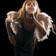 Angel girl showing silence sign — Stock Photo #39744643