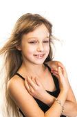 Saç üfleme ile mutlu küçük kız — Stok fotoğraf