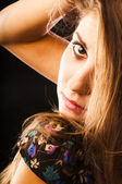 Sensual woman touching her hair — Stock Photo