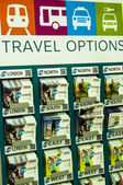 Travel options stand — Stock Photo