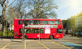 Red London double-decker bus — Stok fotoğraf