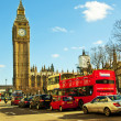 Stock Photo: London traffic with red bus and Big Ben