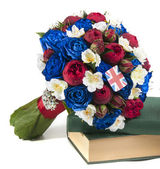 Blue and red rose Bouquet — Stock Photo
