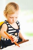 Little baby girl drawing — Foto de Stock
