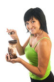 Woman with aromatherapy oil burner — Stock Photo