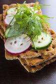 Crisp bread with radish and cucumber slices — Stock Photo