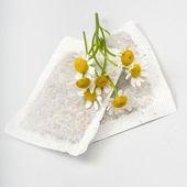 Chamomile teabags — Stock Photo