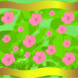 Stock Vector: Green background with flowers