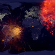 Fireworks with earth at night image.New year on the earth.High r — Stock Photo