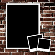 Empty photo on grunge brick wall background — Stock Photo