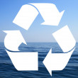 Recycle symbol made from sea waves — Stock Photo