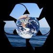 Recycle symbol made from sea waves - Stock Photo