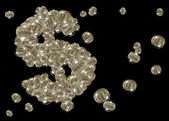 Dollar sign made from dollar bubbles — Stock Photo