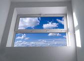 Window with blue sky — Stock Photo