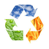 Recycle symbol made from fire, clouds and green leaf with drops — Stock Photo