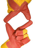 Frame made from red protective gloves — Stock Photo