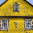 Fragment of a wooden church facade — Stock Photo