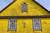 Fragment of a wooden church facade — Stock Photo