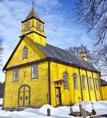 Silenai eski ahşap sarı kilise, vilnius district, litvanya — Stok fotoğraf