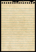 Oude torn briefpapier pagina geïsoleerd zwarte achtergrond. — Stockfoto