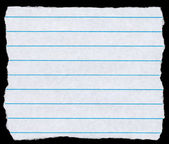 Square torn piece of white lined paper isolated on black. — Stock Photo