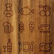 Wood icons — Stock Photo