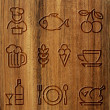 Foto Stock: Wood icons