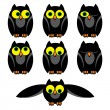 Owl set - Stock Vector