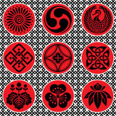 Japan ornament elements — Stock Vector