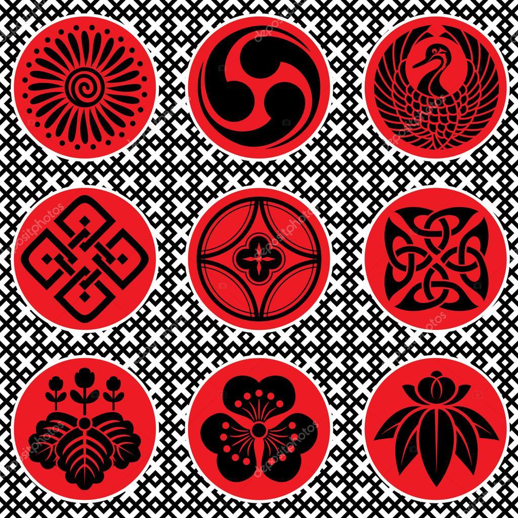 japan ornament elements stock vector print2d 14654299. Black Bedroom Furniture Sets. Home Design Ideas