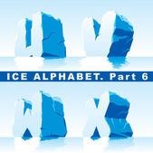Ice alphabet. Part 6 — Stock Vector